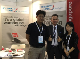 Björn Moberg, Business Development Manager at Direct Link APAC, in the stand with potential customers at LMF Asia 2016