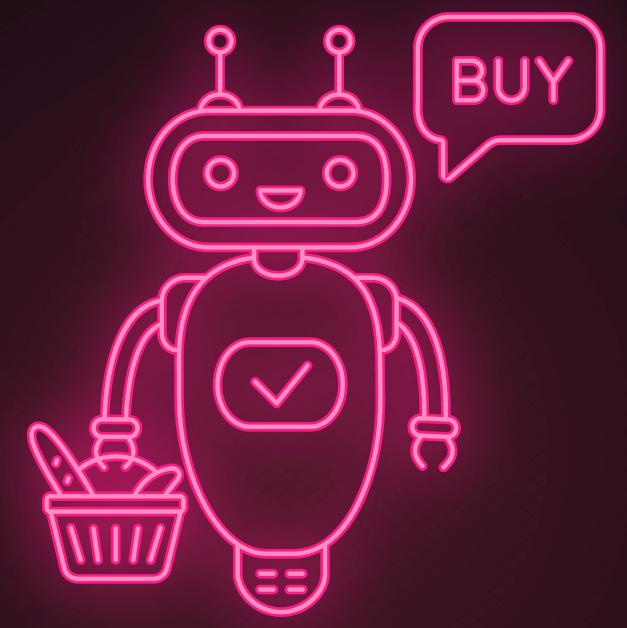 robot holding a shopping basket